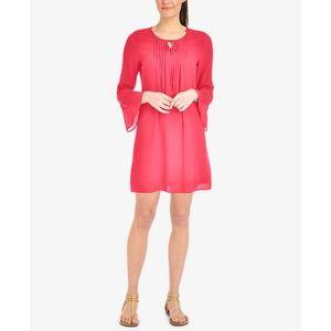 Calypso Coral Lace-Trim Shift Dress Lg
